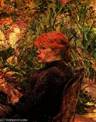 Red-Haired Girl in a Garden by Henri De Toulouse Lautrec (1864-1901, France)