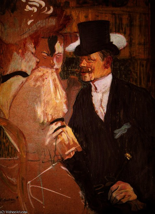 The Englishman at the 'Mouling Rouge' by Henri De Toulouse Lautrec (1864-1901, France)