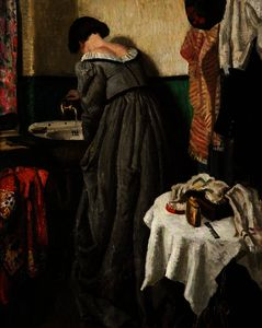 Dame Laura Knight - A theatre dressing room