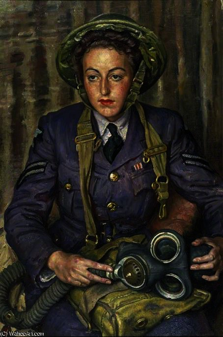 Corporal j. m. robins, women`s auxiliary air force by Dame Laura Knight (1877-1970, United Kingdom) | Art Reproduction | ArtsDot.com