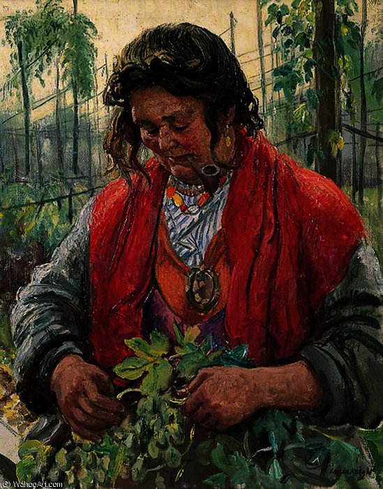 Hop-Picking Granny Knowles, an Old Hand by Dame Laura Knight (1877-1970, United Kingdom) | Oil Painting | ArtsDot.com
