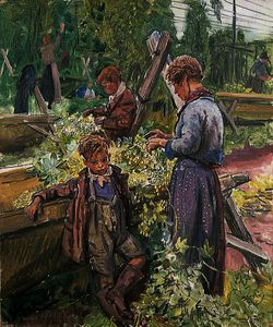 Dame Laura Knight - Hop picking