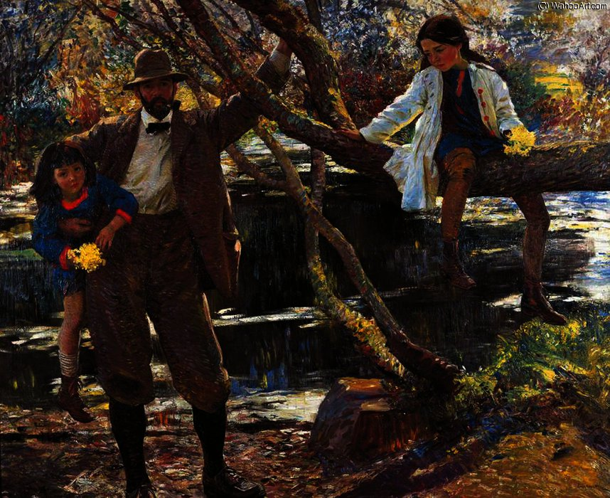 Lamorna Birch, and His Daughters by Dame Laura Knight (1877-1970, United Kingdom) | Oil Painting | ArtsDot.com