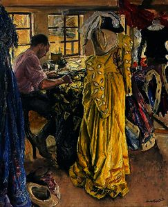 Dame Laura Knight - The Yellow Dress (The Wardrobe Room, Stratford-on-Avon)