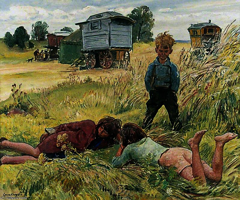 Young gypsies by Dame Laura Knight (1877-1970, United Kingdom) | Painting Copy | ArtsDot.com