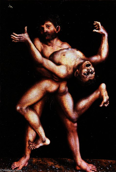 Hercules and Antaeus by Lucas Cranach The Elder (1472-1553, Germany)