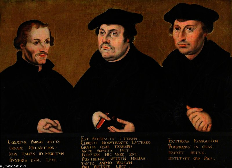 Philip Melanchthon, Martin Luther and Johann Bugenhagen , Called Dr Pommer by Lucas Cranach The Elder (1472-1553, Germany)
