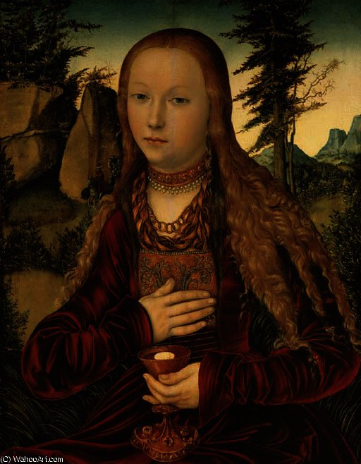 St. barbara in a wooded landscape by Lucas Cranach The Elder (1472-1553, Germany)
