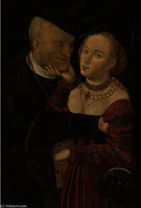 Ill-matched lovers by Lucas Cranach The Elder (1472-1553, Germany)