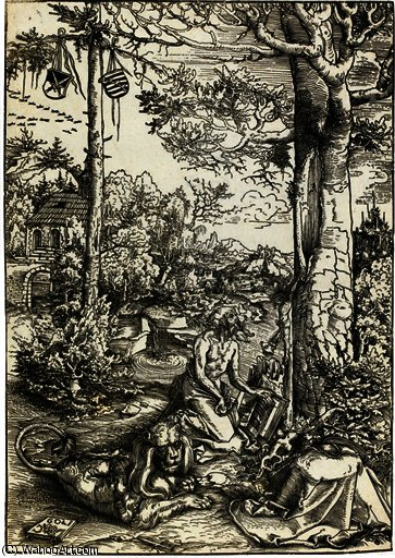 Penitence of saint jerome by Lucas Cranach The Elder (1472-1553, Germany)