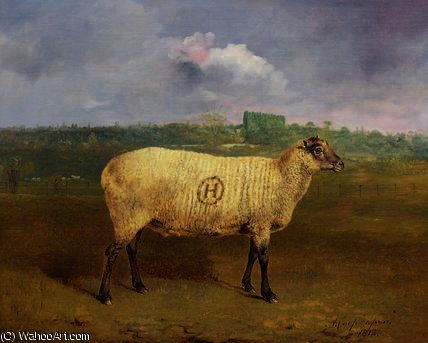 A Prize Ewe with monogram 'H', belonging to Mr J.A by Abraham Cooper (1787-1868, United Kingdom)