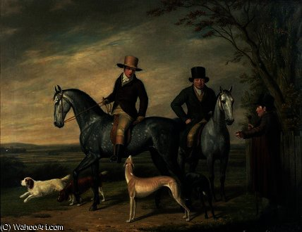 Two Gentlemen on Grey Hunters by Abraham Cooper (1787-1868, United Kingdom)