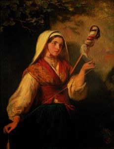 Abraham Solomon - Young woman spinning wool