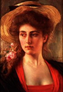 Albert Lynch - Painting of the Head of a Woman