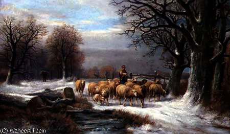 Shepherdess with her Flock in a Winter Landscape by Alexis De Leeuw (1848-1883, Belgium) | Art Reproduction | ArtsDot.com