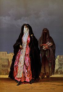 Count Amadeo Preziosi - Veiled women, from -Souvenir of Cairo-,