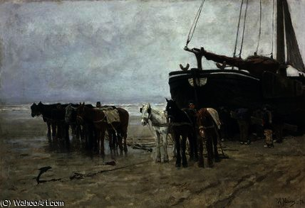Boat on the Beach at Scheveningen by Anton Mauve (1838-1888, Netherlands) | Museum Quality Reproductions | ArtsDot.com