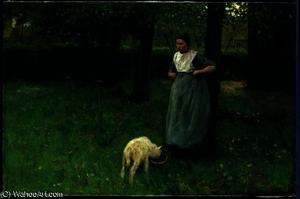 Larener Woman with a Goat by Anton Mauve (1838-1888, Netherlands)