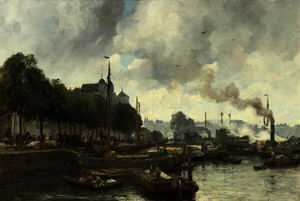 August Willem Van Voorden - A busy day in the rotterdam ha..