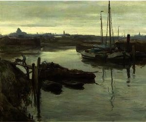 August Willem Van Voorden - The inner harbour of sche..