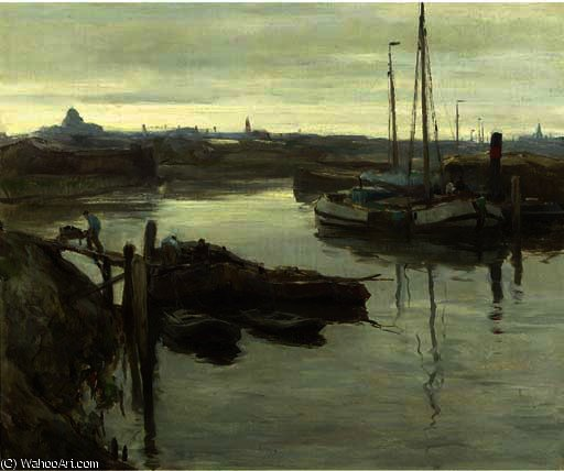 The inner harbour of scheveningen by August Willem Van Voorden (1881-1921)