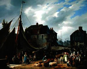 Auguste Xavier Leprince - Loading Livestock onto the 'Pa..