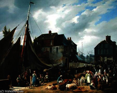 Loading Livestock onto the 'Passager' in the Port of Honfleur by Auguste Xavier Leprince (1799-1826, France)