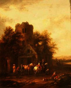 Barend Gael Or Gaal - Riders Watering their Horses Outside a Tavern