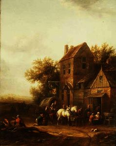Barend Gael Or Gaal - Travellers Watering their Horses Outside an Inn