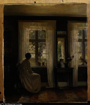 A Lady in an Interior by Carl Vilhelm Holsoe (1863-1935, Denmark)