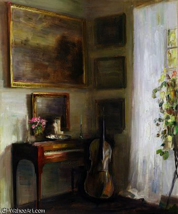 Interior with Cello and Spinet by Carl Vilhelm Holsoe (1863-1935, Denmark)