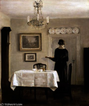 Interior with Lady Carrying Tray by Carl Vilhelm Holsoe (1863-1935, Denmark)