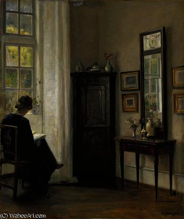 Interior with Woman Reading by Carl Vilhelm Holsoe (1863-1935, Denmark)