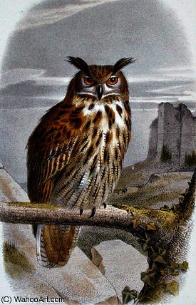 Eurasian eagle owl by Edouard Travies (1809-1876, France) | Painting Copy | ArtsDot.com