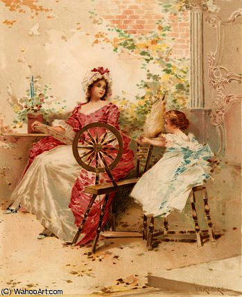 Learning to Spin by Edward Percy Moran (1829-1901, United Kingdom)