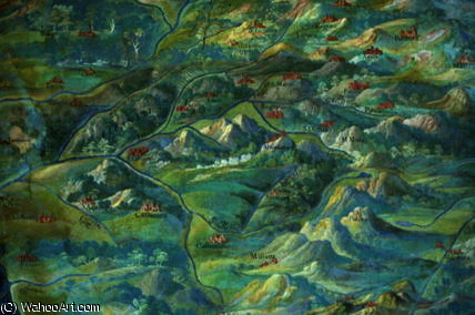 Italian landscape, detail from the `Galleria delle by Egnazio Danti (1536-1586, Italy) | Art Reproduction | ArtsDot.com