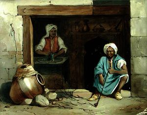 Émile Prisse D-avennes - An egyptian woman making cadaifs