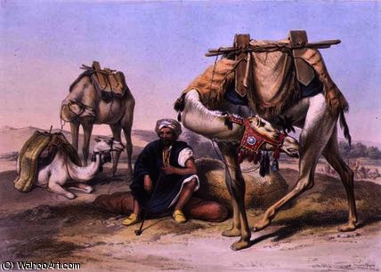 Camels Resting in the Sherkiyeh by Émile Prisse D'avennes (1807-1879, France) | Museum Quality Reproductions | ArtsDot.com