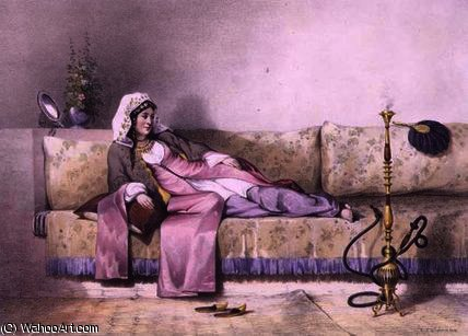 Egyptian Woman in a Harem in Cairo by Émile Prisse D'avennes (1807-1879, France)