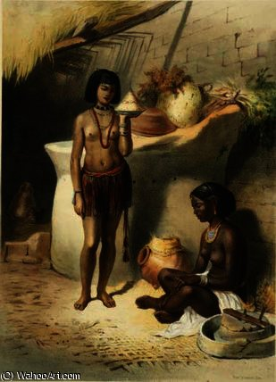 Nubian Women from the Kanoosee Tribe by Émile Prisse D'avennes (1807-1879, France) | Painting Copy | ArtsDot.com
