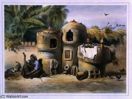 Peasant Dwellings in Upper Egypt by Émile Prisse D'avennes (1807-1879, France)