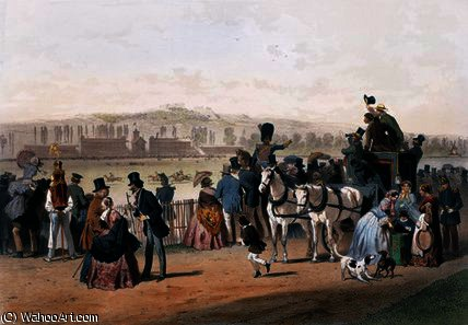 Racecourse at the Bois de Boulogne by Eugene Charles Francois Guerard (1821-1866, France)