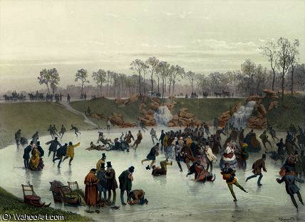 Skaters on the Lake by Eugene Charles Francois Guerard (1821-1866, France) | ArtsDot.com