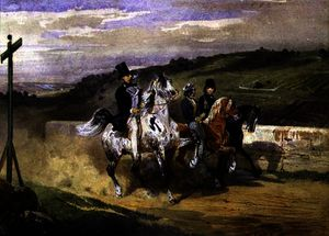 Eugene Louis Lami - Horace Vernet and his Children Riding in the Country