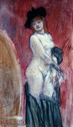 Coquette in front of a mirror by Felicien Rops (1833-1898, Belgium) | Museum Art Reproductions | ArtsDot.com