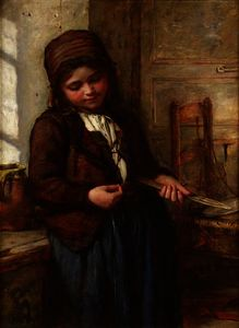 Francis Montague Holl - A boulogne fish girl