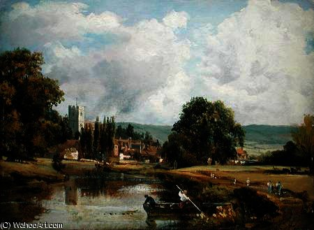 Aylesford, Kent, from the River Medway by Frederick Waters Watts (1800-1870, United Kingdom)