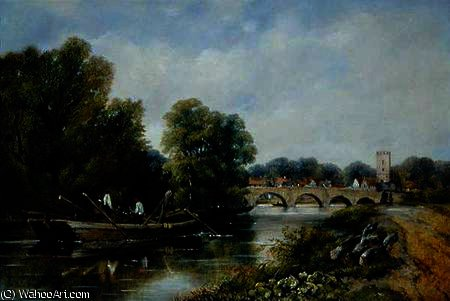 The Bridge at Henley-on-Thames by Frederick Waters Watts (1800-1870, United Kingdom)