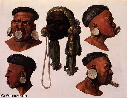 Heads of Botocudos Indians by Gallo Gallina (1796-1874, Italy)