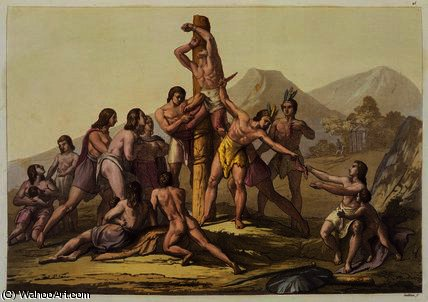 Peruvian Indians Making a Sacrifice by Gallo Gallina (1796-1874, Italy) | Museum Quality Reproductions | ArtsDot.com